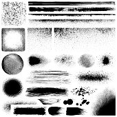 Set of grunge design elements. Black texture backgrounds, brush strokes, lines and different shapes. Isolated vector images black on white.