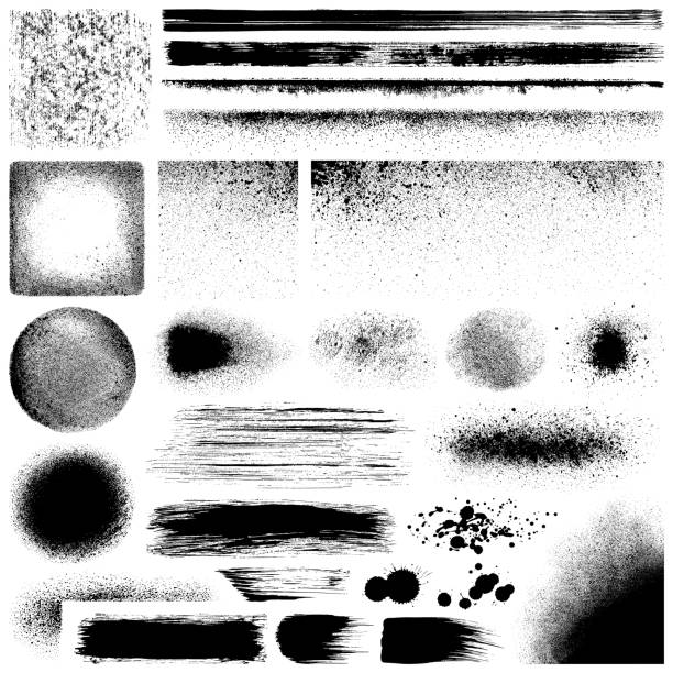 Grunge design elements Set of grunge design elements. Black texture backgrounds, brush strokes, lines and different shapes. Isolated vector images black on white. paintbrush illustrations stock illustrations
