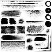 Set of grunge design elements. Black texture backgrounds, circles, lines and different shapes. Isolated vector images black on white.