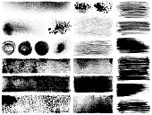 Set of grunge design elements. Black texture backgrounds, brush strokes, ink splashes and text boxes. Isolated vector images black on white.