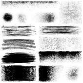 Set of grunge design elements. Black texture backgrounds, brush strokes, paint roller strokes and different shapes. Isolated vector images black on white.