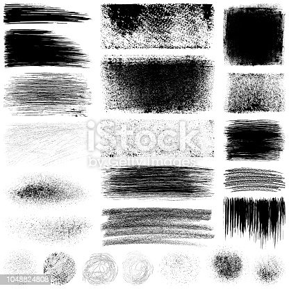 Set of grunge design elements. Black texture backgrounds, circles, brush strokes, scratches, paint roller strokes and different shapes. Isolated vector images black on white.