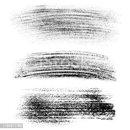 Set of vector grunge design elements. Black powder, dust, different shapes. Isolated images on white background