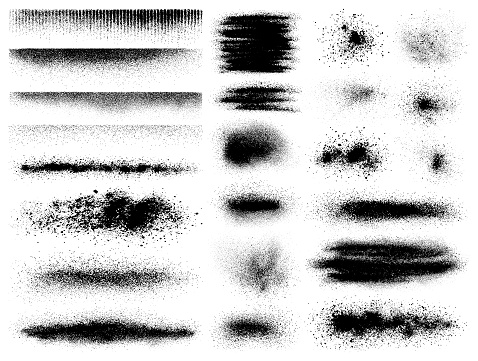 Set of vector grunge design elements. Dusty effect, different shapes. Isolated black images on white background