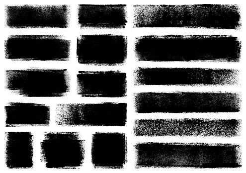 Set of grunge design elements. Black texture backgrounds. Paint roller strokes. Isolated vector image black on white.