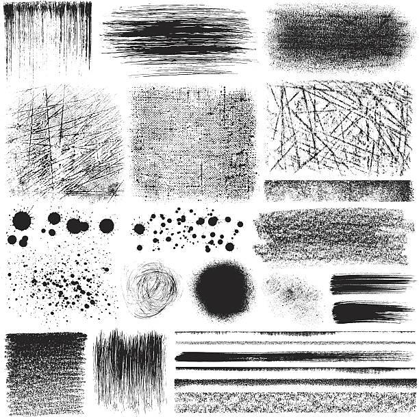 Grunge design elements Vector image. Set of grunge design elements, different materials. bad condition stock illustrations