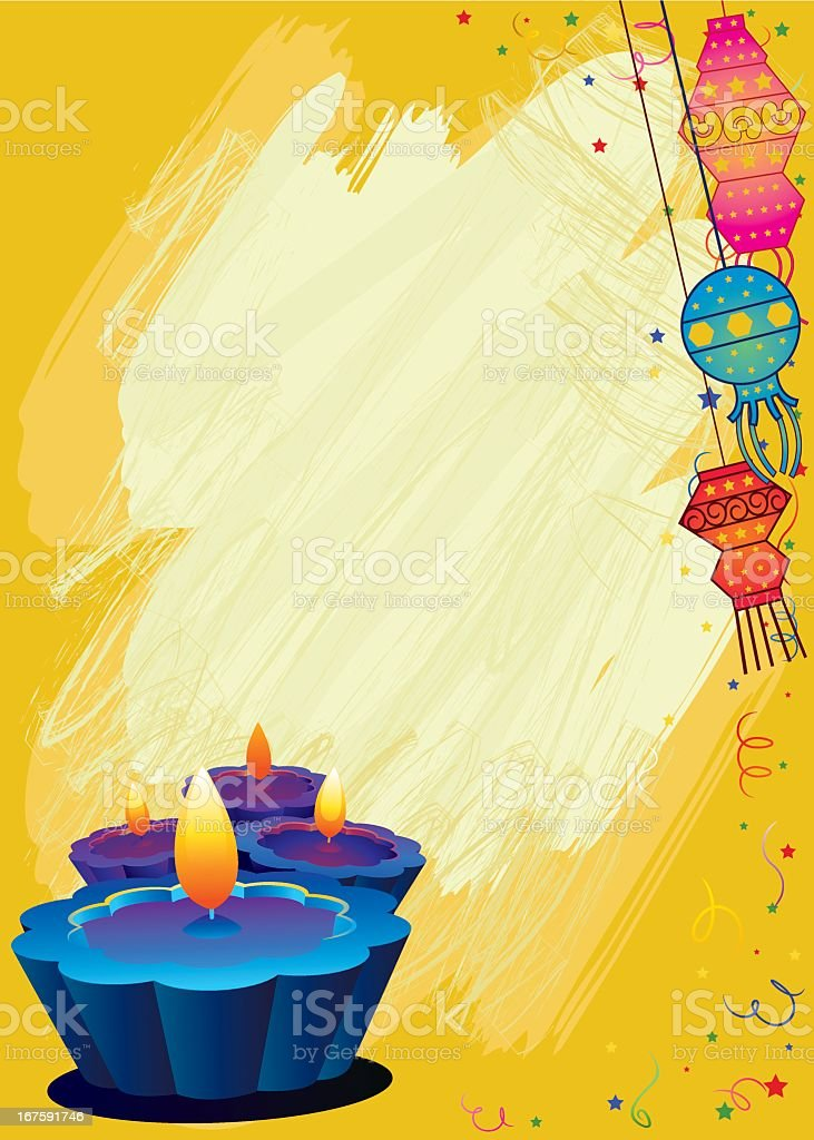 Grunge Diwali greeting card in yellow royalty-free stock vector art
