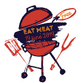 BBQ grunge doodle poster invitatation in square format. Barbecue party flyer. Grill illustration with meat. Can be used for menu, poster