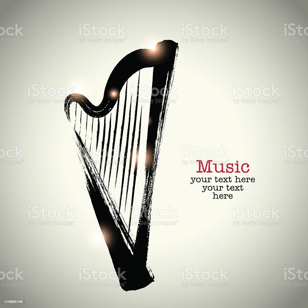 Grunge drawing harp with brushwork vector art illustration