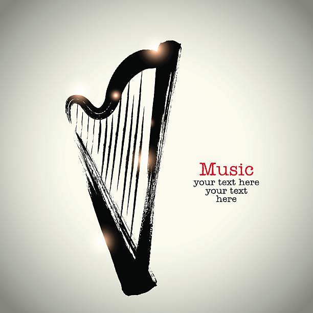 stockillustraties, clipart, cartoons en iconen met grunge drawing harp with brushwork - tenor