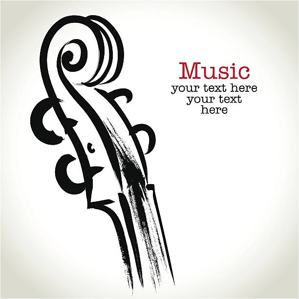 rysunek skrzypce z brushwork grunge - muzyka poważna stock illustrations