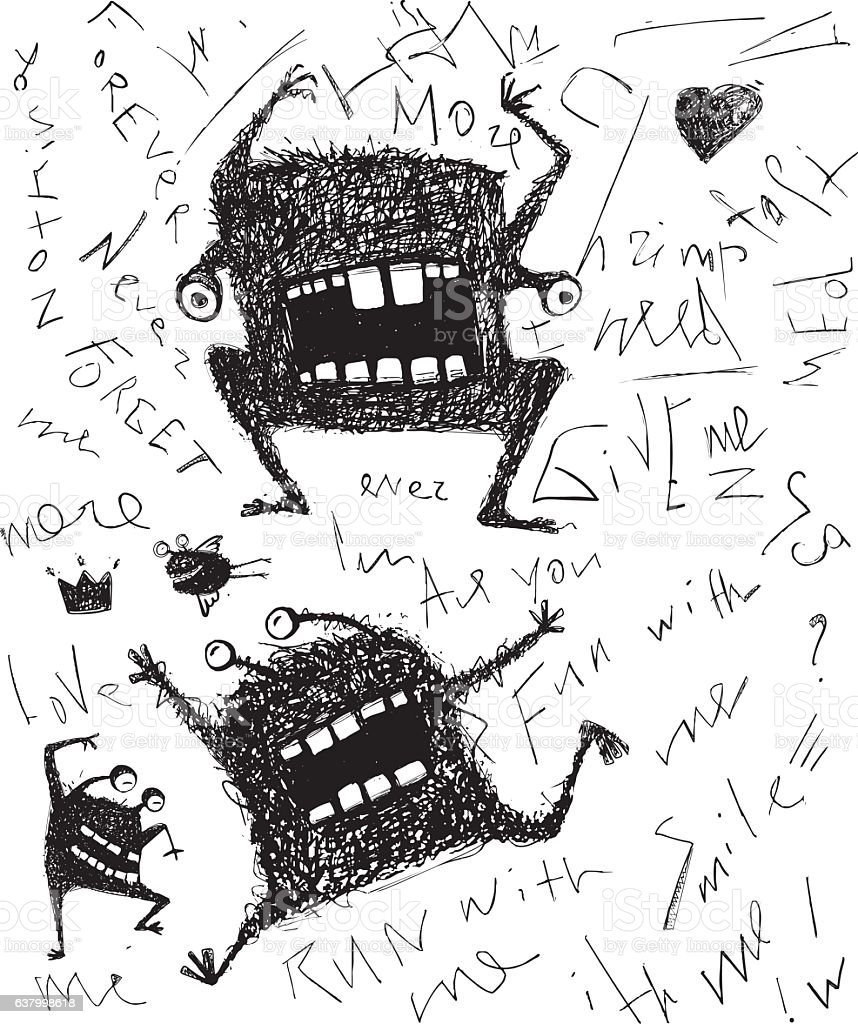 Grunge dreadful horrible monster fun character hand drawn monochrome design vector art illustration
