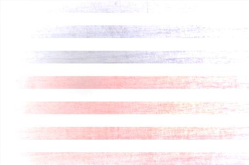 Un efecto grunge desvaneció los fondos vectoriales horizontales con rayas de pinceladas rojas y azules como en la bandera estadounidense (EE. UU.)