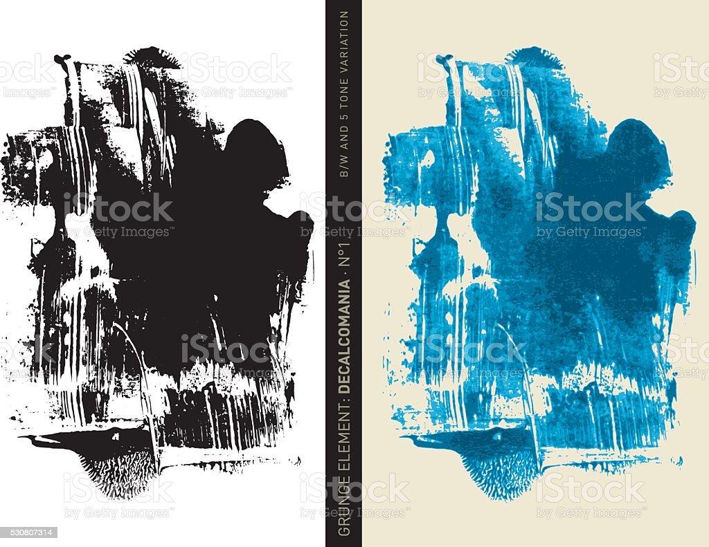 Grunge element: Decalcomania n°1 (Blue) vector art illustration