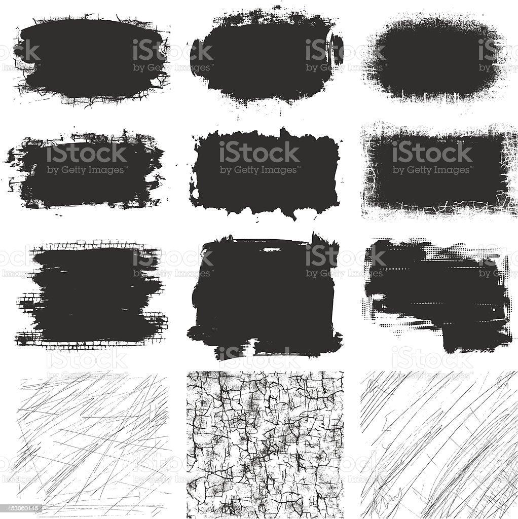 Elementos de Grunge conjunto - ilustração de arte vetorial
