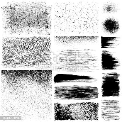 Set of grunge design elements. Black texture backgrounds, brush strokes, scratches, paint roller strokes and different shapes. Isolated vector images black on white.