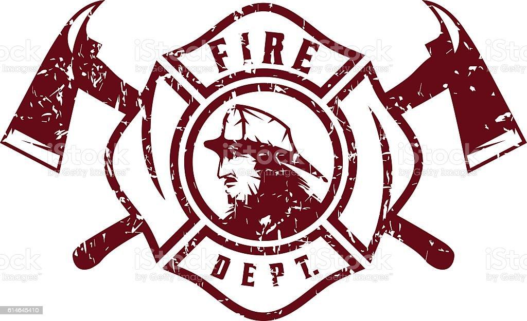 grunge emblem of fire department with fireman stock vector art