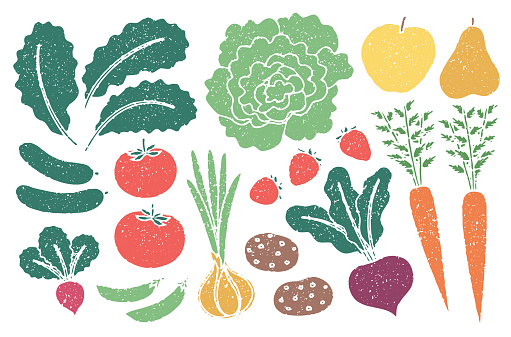 Grunge farm produce set with grain texture