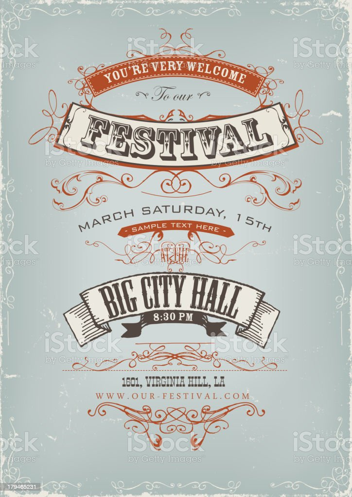 Grunge Festival Invitation Poster vector art illustration