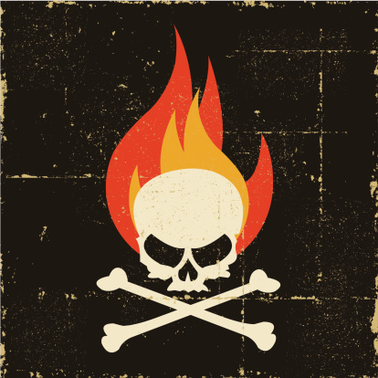 Grunge Fire Skull And Crossbones Stock Illustration ...