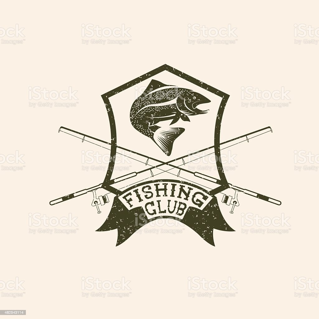 grunge fishing club crest with trout vector art illustration