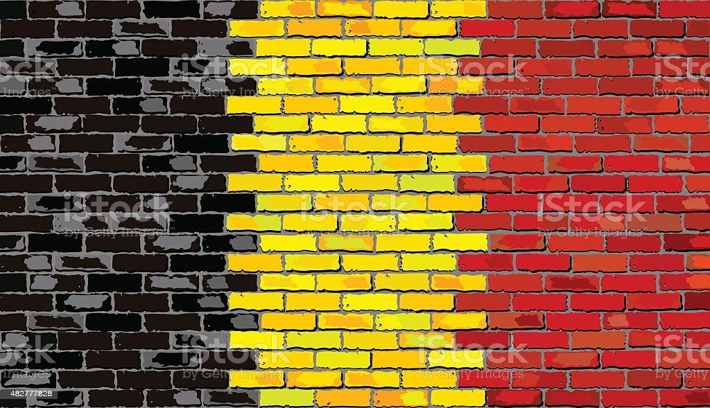 Grunge Bandeira da Bélgica em uma parede de tijolo - ilustração de arte vetorial