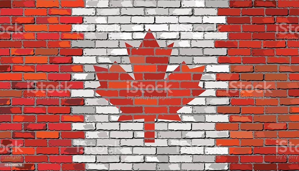 Grunge Bandeira do Canadá em uma parede de tijolo - ilustração de arte vetorial