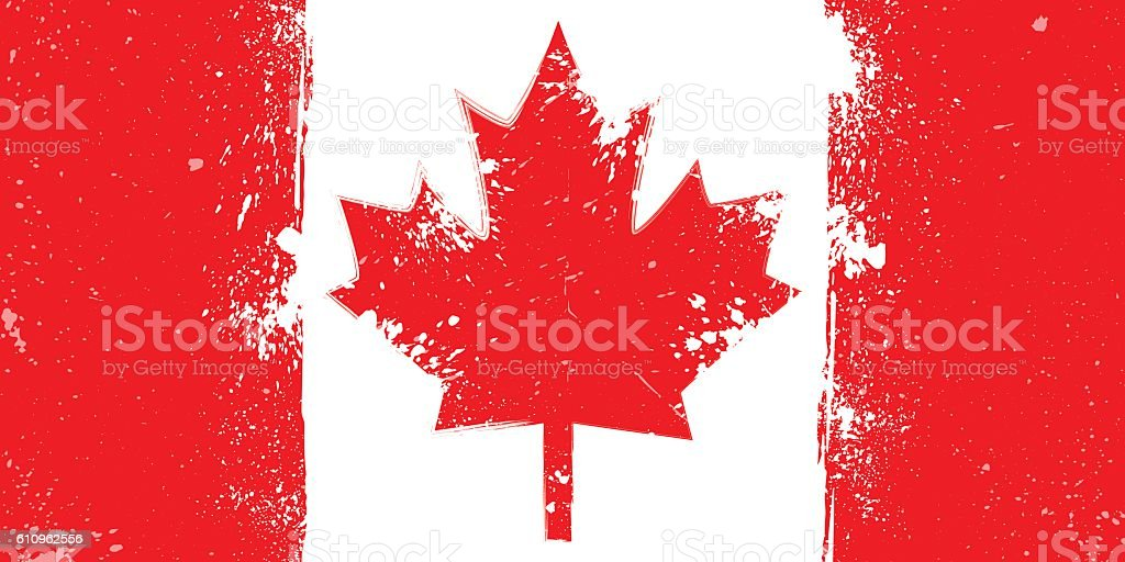 Grunge flag of Canada with splash and spots vector art illustration