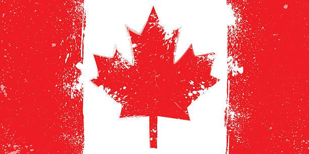 grunge flag of canada with splash and spots - flagge kanada stock-grafiken, -clipart, -cartoons und -symbole