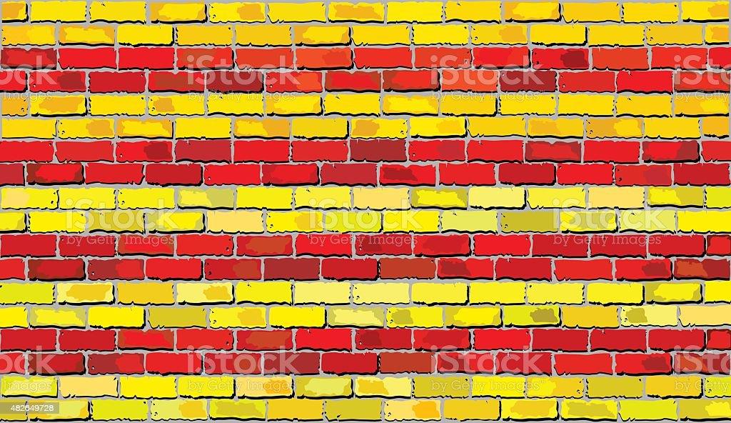 Grunge Bandeira da Catalunha em uma parede de tijolo - ilustração de arte vetorial