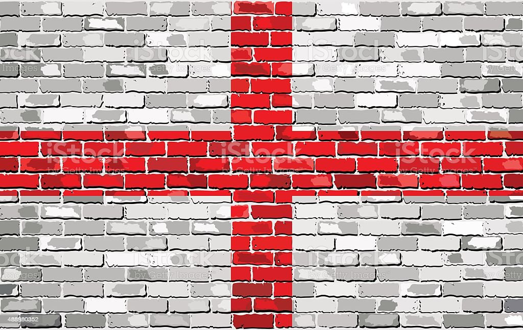 Grunge flag of England on a brick wall vector art illustration