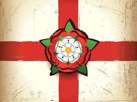 Grunge flag of England with a Tudor rose