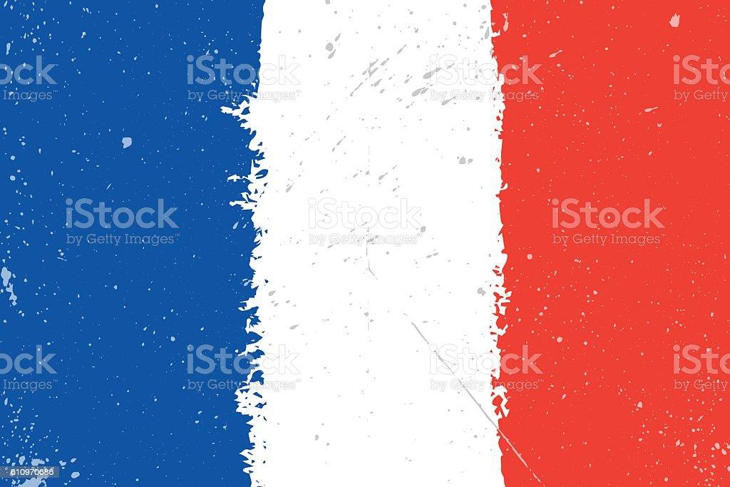 Grunge flag of France with splash and spots vector art illustration