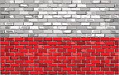 Grunge flag of Poland on a brick wall