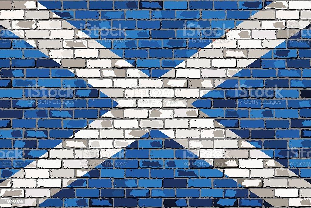 Grunge Bandeira da Escócia em uma parede de tijolo - ilustração de arte vetorial