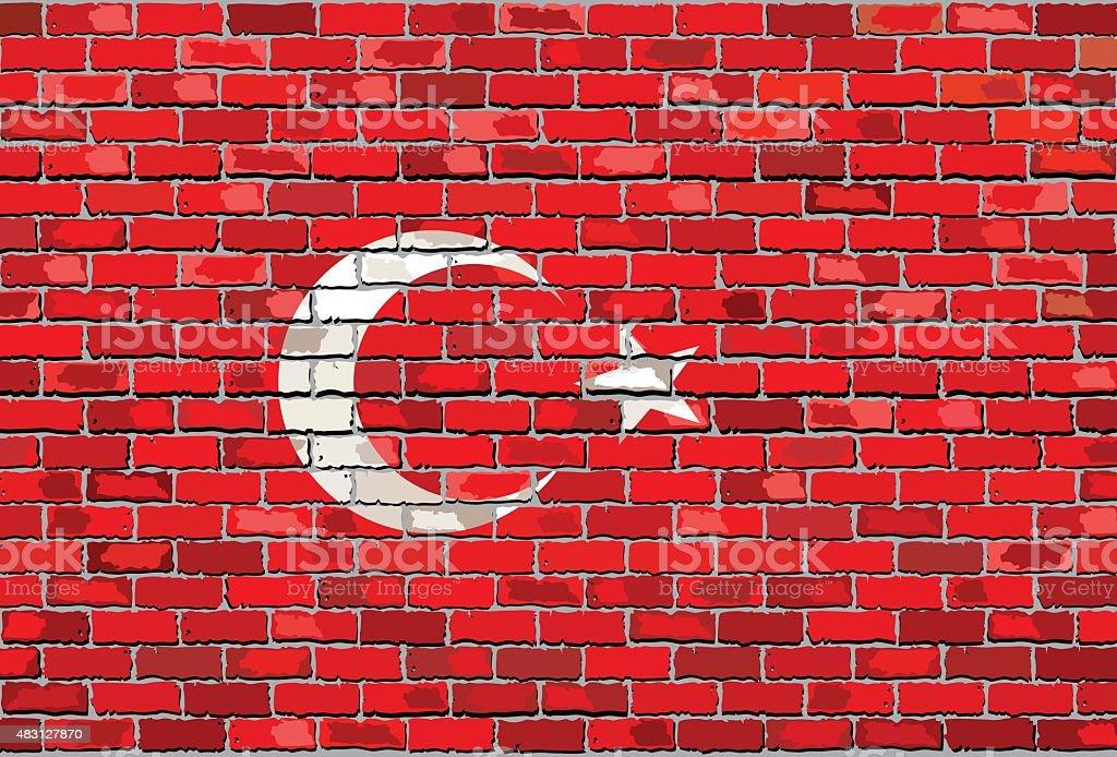 Grunge Bandeira da Turquia em uma parede de tijolo - ilustração de arte vetorial