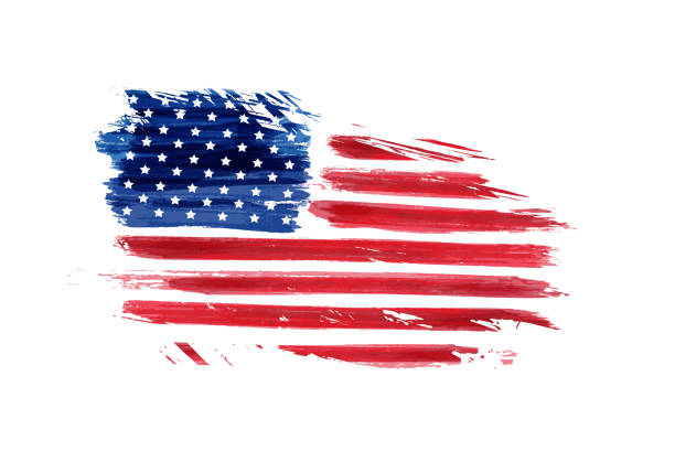 USA grunge flag USA grunge flag. Vector abstract grunge flag. Template for United States of America national holiday banner, greeting card, invitation, poster, flyer, etc. circa 4th century stock illustrations