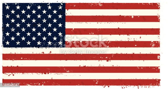 A USA flag with a distressed texture. On layers for easy editing.