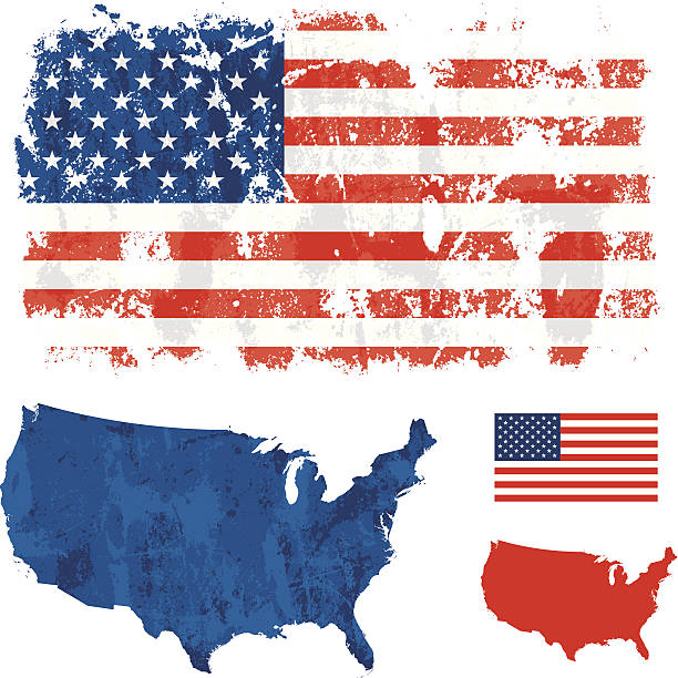 USA grunge flag Grunge USA flag and country outline. Clean copy of flag and map also included. distressed american flag stock illustrations
