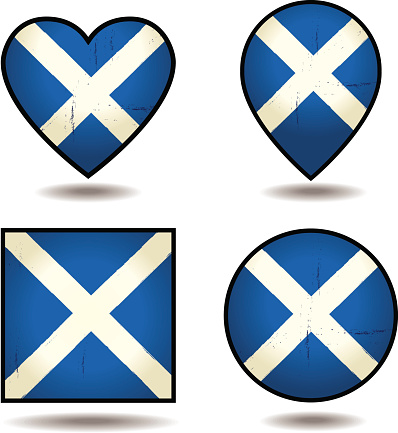 Grunge Flags of Scotland Set of icons