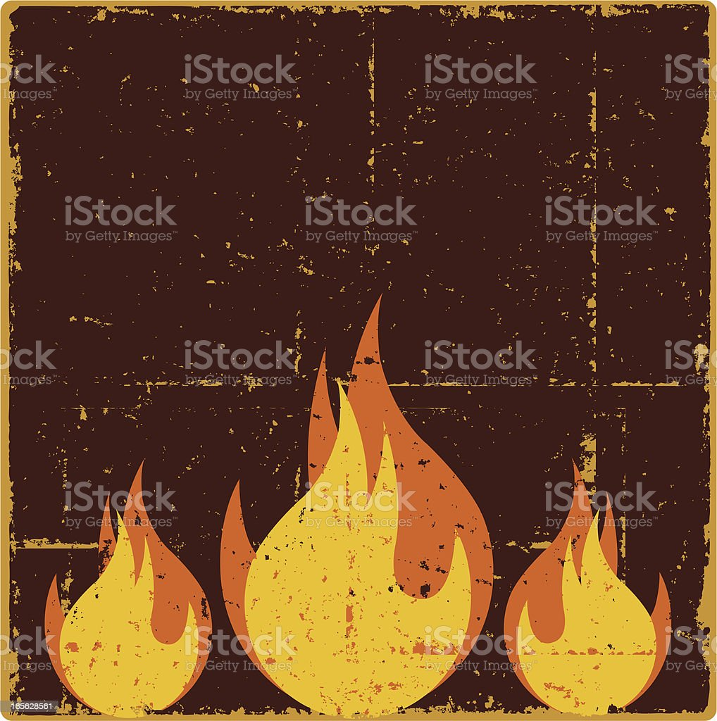Grunge Flames vector art illustration