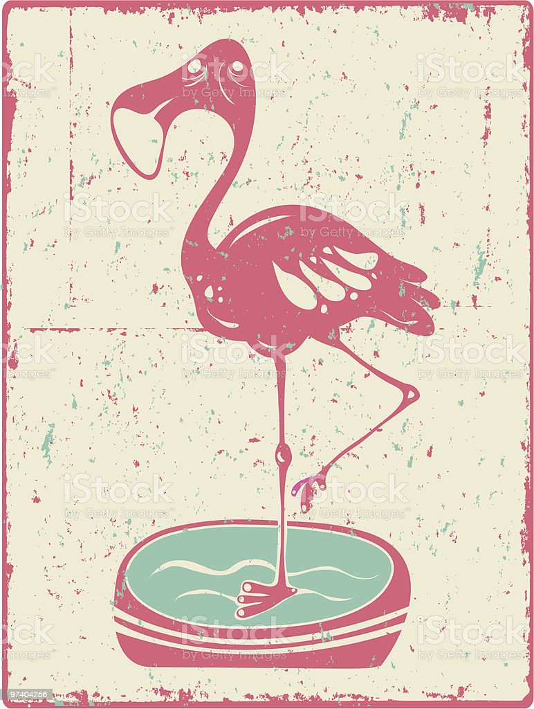 Grunge Flamingo royalty-free stock vector art
