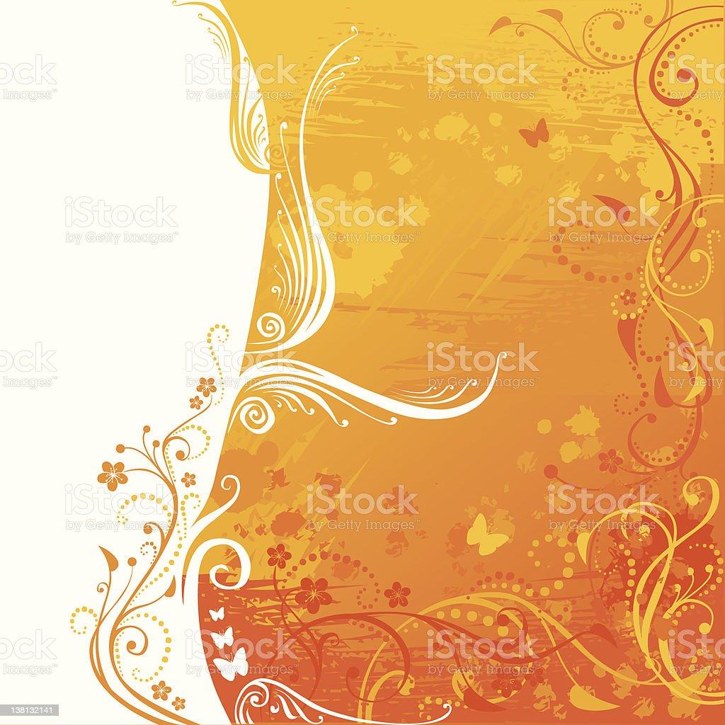 Grunge floral background in orange design royalty-free stock vector art