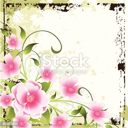 Grunge Floral Background Stock Vector Art & More Images of Abstract 97891800