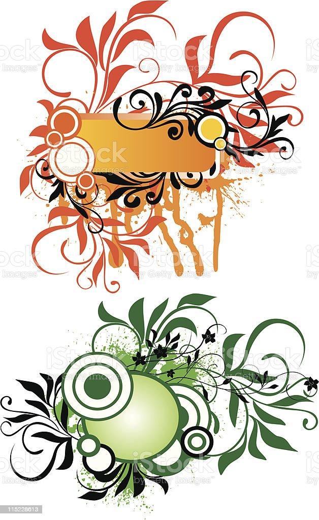 grunge floral frames royalty-free stock vector art