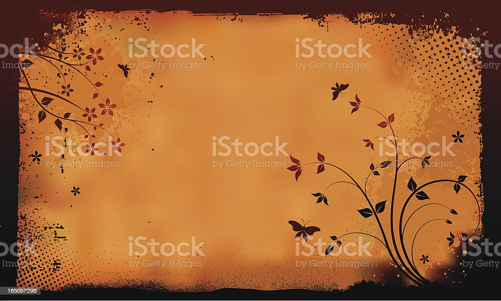 Grunge floral parchment royalty-free stock vector art