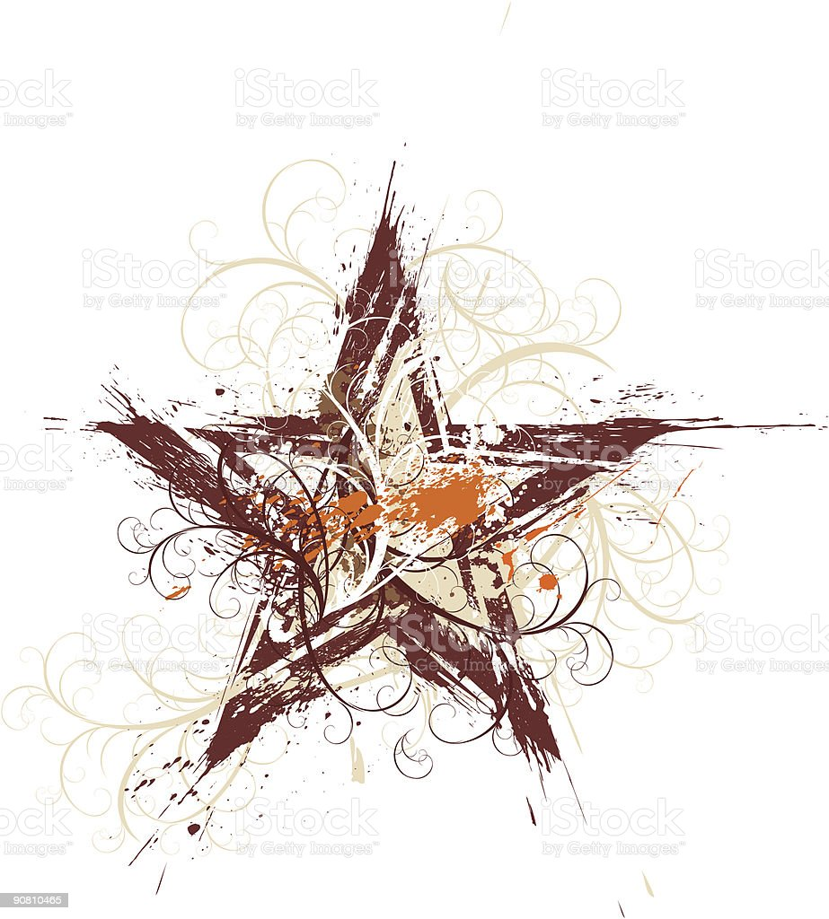 Grunge floral star royalty-free stock vector art