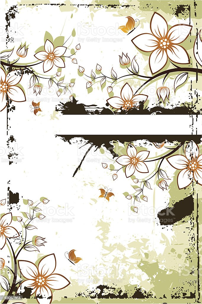 Grunge flower tree with copyspace royalty-free grunge flower tree with copyspace stock vector art & more images of backgrounds