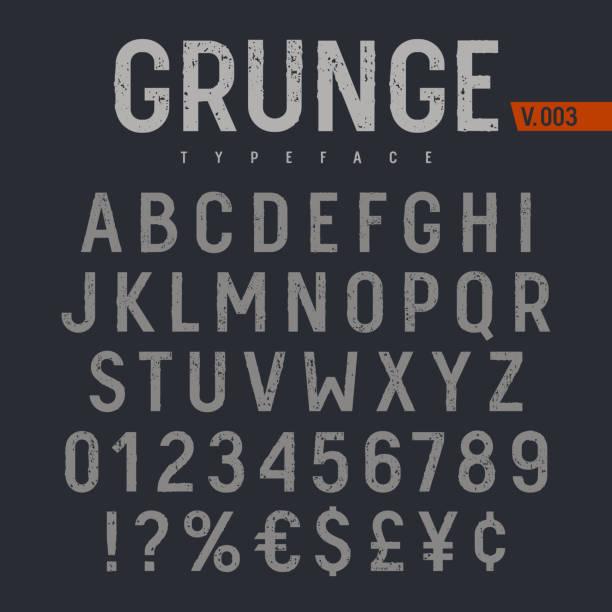 grunge yazı tipi 005 - rustik stock illustrations