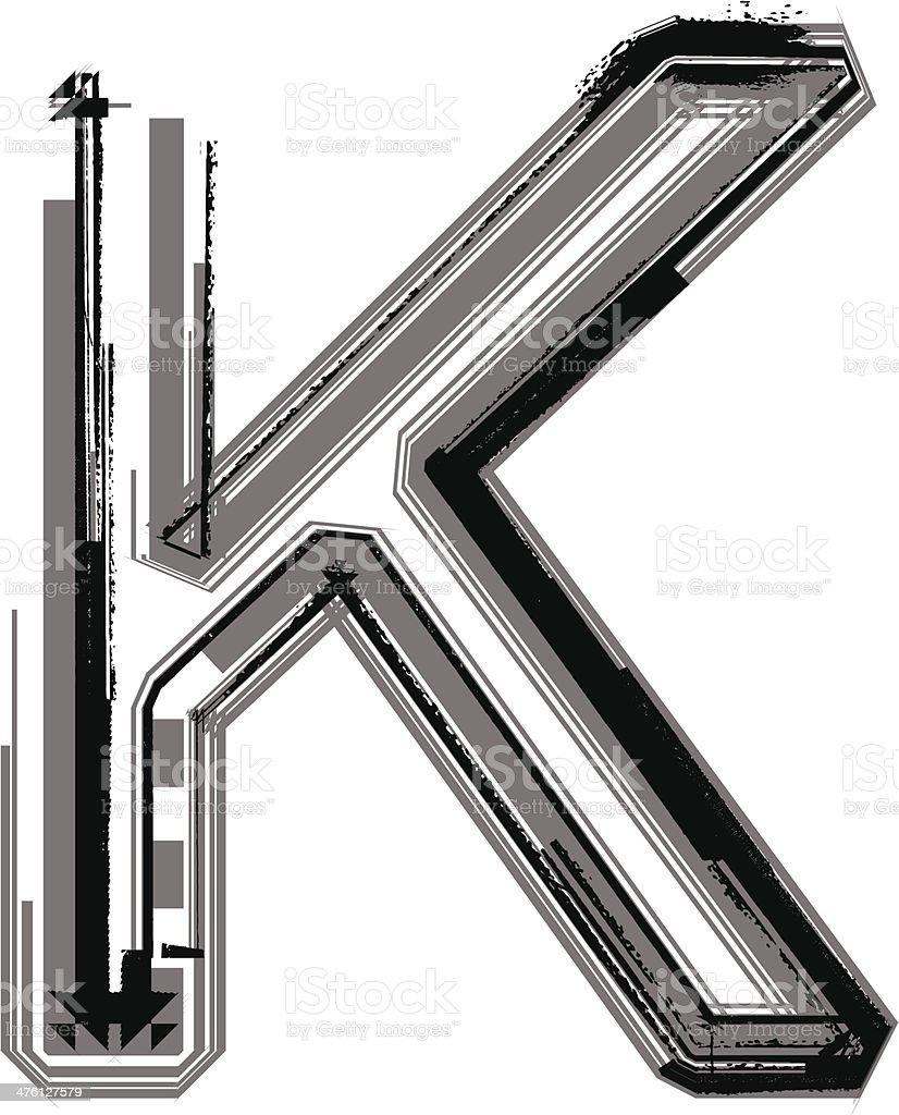 Grunge font. Letter K royalty-free stock vector art